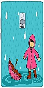 Snoogg Abstract Rainy Season Background With Cute Kid Solid Snap On - Back Co...