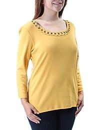 4ae00abc8df3cd Karen Scott Womens Gold Eyelet 3 4 Sleeve Scoop Neck Top Size  S