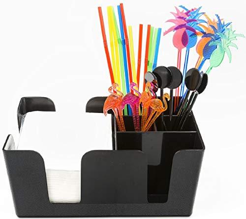 Bar Caddy und Serviettenhalter Set - Commercial Grade 6 Fach Cocktail Geschirr Organizer - Set Tropical Swizzle Sticks, Rührer, Trinkhalme und Servietten Enthalten - Schwarz