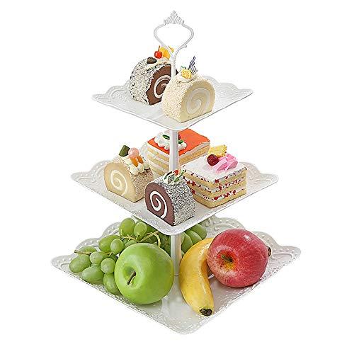 Baffect Kuchenstand mit drei Reihen, Hochzeit Cupcake steht 3 abgestuften weißen Kuchen stehen Obstteller Party Tier servieren Platte stehen für Party Hochzeit Home Decor Nachmittag Tee Stand (Platz)