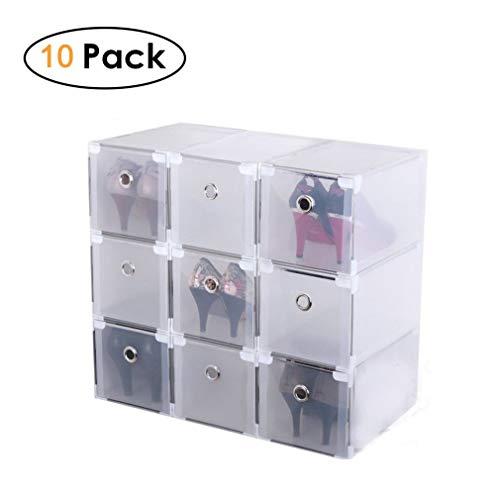 Homgrace 10 Cajas para Zapatos Transparente Plástico, Caja Guardar Zapatos para la Organización Hogar, 29x18x18 cm, Diseño Que Aumenta la Altura para Tacones Altos