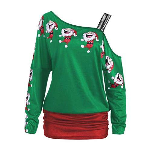 Blusas Navidad Hombro Camisas Manga Larga Invierno