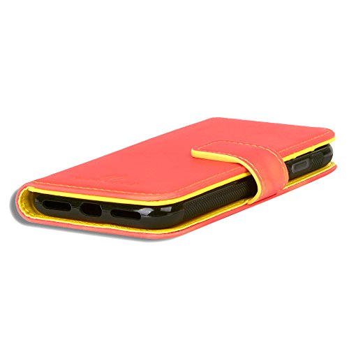 iPhone 8 Hülle, iPhone 7 Hülle, SHANSHUI 2in1 Doppelschutz Handyhülle mit RFID Schutz, Bookstyle mit Kartenfach (Pink/Rosa) Rot-Gelb