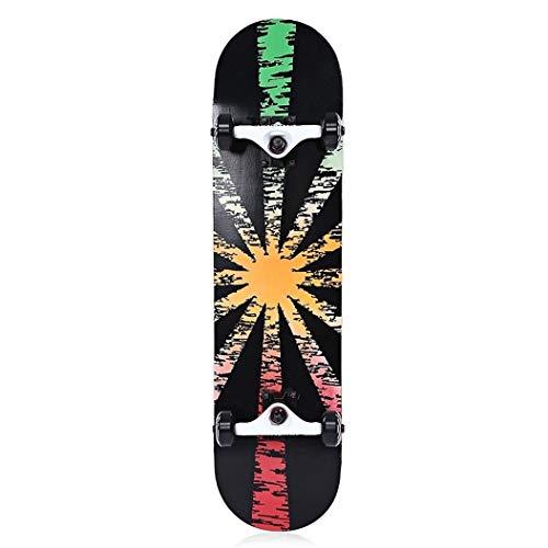 Tianzhiyi Anfänger 9 Doppel-Snubby-Ahorn-Skateboard mit Vier Rädern für Unterhaltung (Color : PINK and White and DEEP Blue)