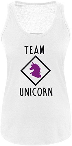 EZYshirt® Team Unicorn Damen Tanktop Weiss/Schwarz/Violett