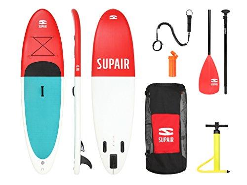 supair 10'0SUP-Aufblasbares Stand Up Paddle Board Full Set + Leine (Fiberglas Paddel + Pumpe + Tasche + Abnehmbare Fin)