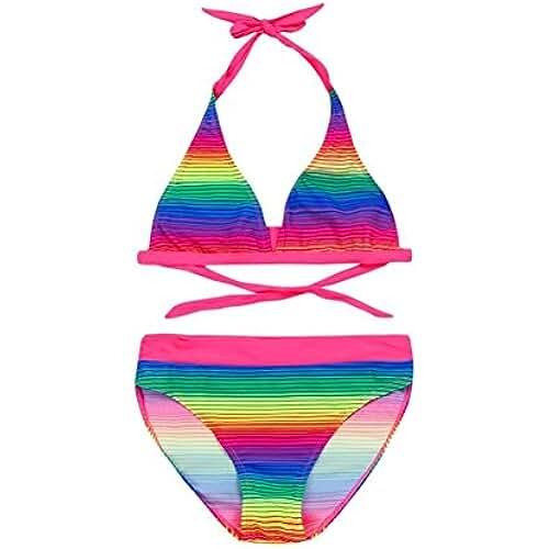 ropa kawaii para los mas guays PAOLIAN Traje de Baño de Dos Piezas Tankinis para Niña Verano 2018 Bañador Playa Impresion de Rayas y Arco Iris Gradiente Sin Tirantes Conjuntos Swimsuit Bikini Deportes acuáticos