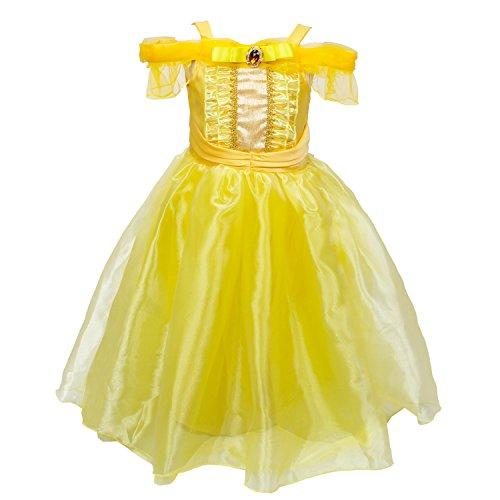 Le SSara Mädchen Belle Prinzessin Kleid Geburtstagsfeier Kleid Ballkleid Kostüm (110, (Kostüme Belle Kleinkind)