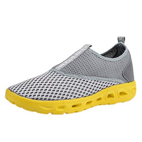 Xmiral uomo donna scarpe da ginnastica corsa running sneakers sportive fitness basse casual scarpe sportive leggere e traspiranti scarpe da corsa con fondo morbido 40 giallo