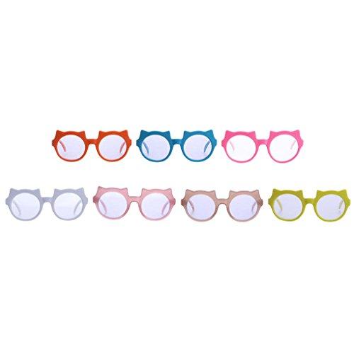 Sharplace 7 Paar Niedliche Puppenbrillen Gläser Sonnenbrille mit Katze Rahmen Für 18 Zoll American Girl Puppe