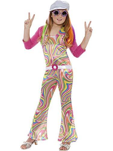 Confettery - Mädchen Kinder Groovy Glam Flower Power Kostüm im 70er Jahre Hippie Stil mit Jumpsuit, Gürtel, Jacke und Mütze, perfekt für Karneval, Fasching und Fastnacht, 140-146, Mehrfarbig