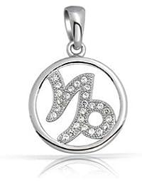 Bling Jewelry Plata Esterlina Micro CZ Colgante signo del Zodíaco Capricornio
