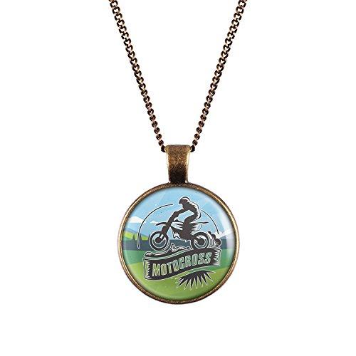Mylery Hals-Kette mit Motiv Moto-Cross MX Enduro Motor-Rad bronze 28mm (Motor Bronze)