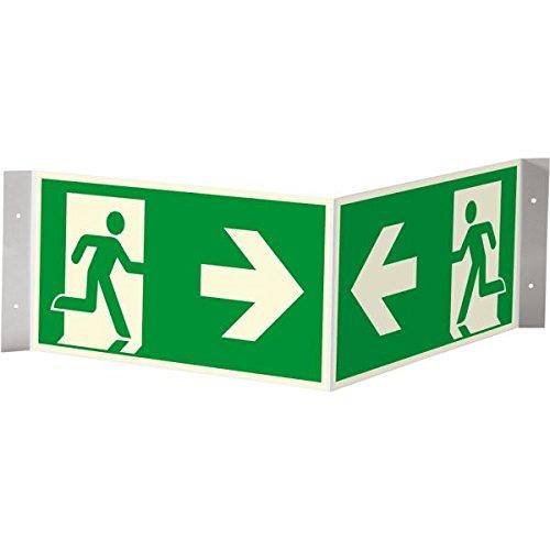 300x150mm Rettungszeichen Rettungsweg rechts abwärts praxisnah Folie selbstkl