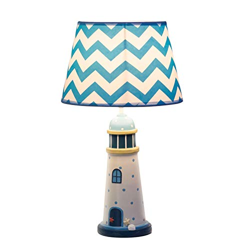 Dimmable Kinder Dekorative Schreibtisch Licht Schlafzimmer Wohnzimmer Nacht Studie Atmosphäre Licht Kreative Blau Weiß Kinder Thema Tischlampe (Farbe : White1) (Thema Und Blau Weiß)