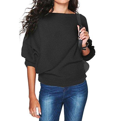 Damen Winter Pullover,JiaMeng Damen Fledermaus Ärmel gestrickt Pullover lose Pullover Pullover Tops Strickwaren (Schwarz, ()