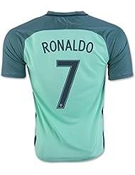 20162017UEFA Euro Cup Portugal 7Cristiano Ronaldo Away National Football Soccer Jersey in in blau Größe L Blau - blau