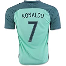 Maillot de football Euro 2016 Portugal Numéro 7 Cristiano Ronaldo Extérieur Bleu petit Bleu