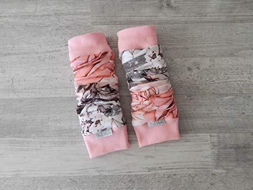 Stulpen Baby Kleinkind, Beinstulpen Jersey mit Streifen in grau-weiß und Rosen, Bündchen rosa. 95% Baumwolle, 5% Elasthan. Länge ca. 27cm, Breite einfach ca. 8cm