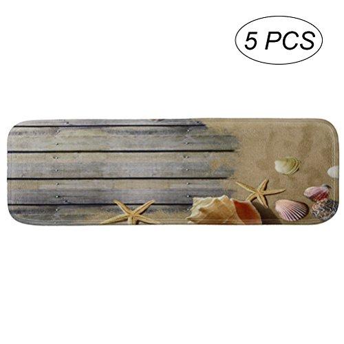 VORCOOL Stufenmatten Rutschfeste Treppenteppich mit Klebeband und Gummirücken 5 Stücke