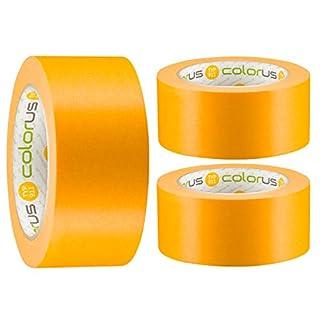 3 x Colorus Premium Maler-Goldband PLUS Soft Tape Klebeband 50 mm x 50m | Malerband-Klebeband für extrem scharfe Kanten beim Streichen und lackieren | Washi Tape Malerband Gold Innen und Außen