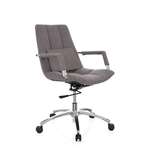 Sedia da ufficio girevole saranto tessuto in stile retrò con guscio seduta sedia da ufficio, braccioli, meccanismo basculante per lordosi, ergonomico, poltrona direzionale hjh office grigio scuro