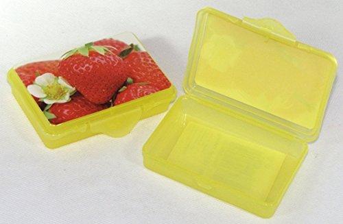 2X Confezione da  pezzi Rosso hoset Funbox Mini 0,1LTR.Olive Box feta Box, ca.10X 7X 2,5cmgelb erdbee