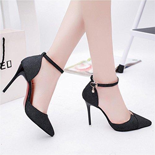Sandales à talons hauts féminin printemps et été Europe et États-Unis pointage black 6 cm