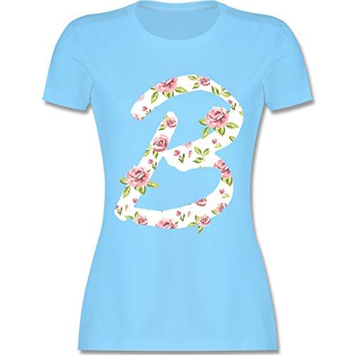 Anfangsbuchstaben - B Rosen - tailliertes Premium T-Shirt mit Rundhalsausschnitt für Damen Hellblau