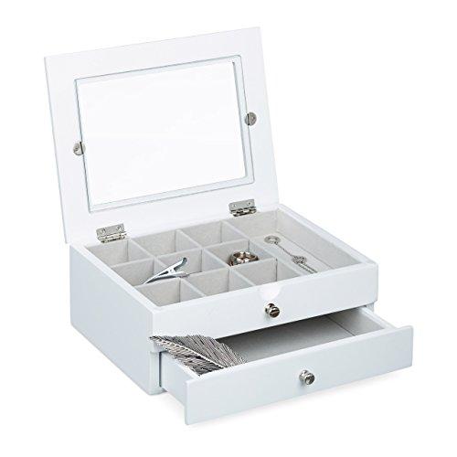 Relaxdays Schmuckkästchen mit 1 Schublade H x B x T: ca. 9 x 22 x 18 cm kleine Schatulle zur Schmuckaufbewahrung Schmuckbox mit Schubfach für Accessoires Schmuckkastenaus Holz mit Sichtfenster, weiß Holz-schmuck-boxen