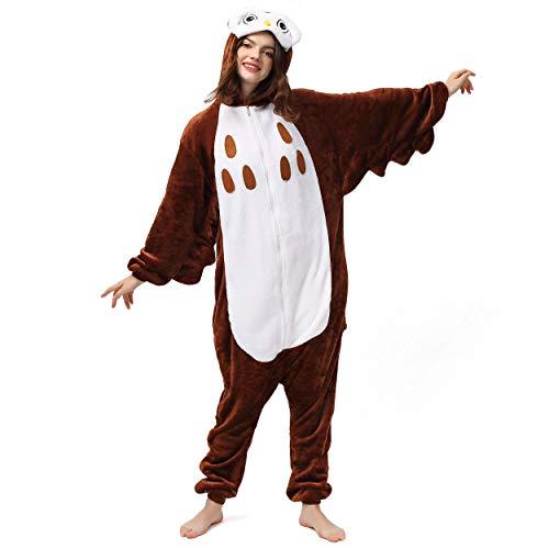 Maskottchen Eule Kostüm - Katara 1744 (30+ Designs) Vogel-Kostüm Eule, Unisex Onesie/ Pyjama-Qualität für Erwachsene & Teenager