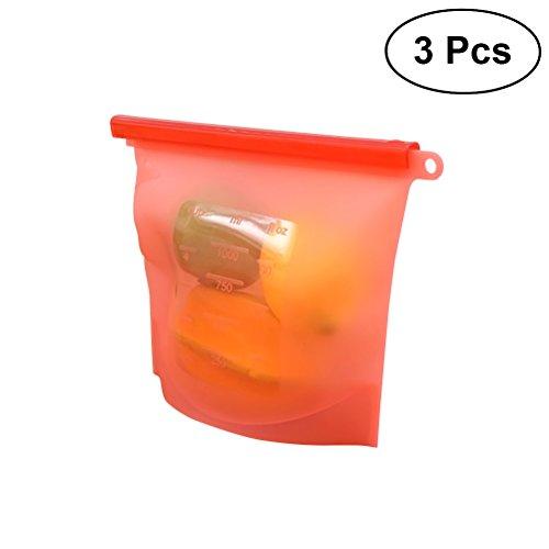 bestonzon 3Vakuum Kompression Beutel, 100ml Silikon Slide wiederverwendbar Speicher Beutel Fresh Bag Vakuum versiegelt Tasche für Aufbewahrung und Gefrierschrank Lebensmitteln (rot) -