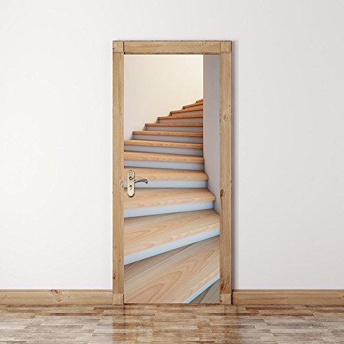 n/Dekoration/Aufkleber Imitation/3D/Treppe/Door Sticker/Schlafzimmer Door/Aufkleber/Holz Tür/Renovierung/Sticker/wasserdicht/selbstklebend/Door Aufkleber (Dekorieren Türen Für Halloween)