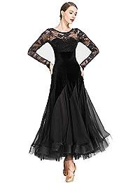 8c3ec3c3400e KXLDres Gonne Donna Modern Waltz Tango Danza Vestiti da Ballo Gonne da  Ballo Abito in Pizzo di Velluto 3 Colori…