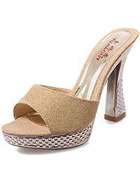 LFNLYX Las mujeres sandalias de verano otro talón de cuña exterior de piel sintética verde rosado blanco plateado oro,Plata,US6.5-7 / UE37 / UK4,5-5 / CN37