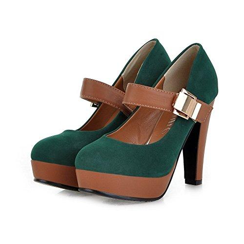 AllhqFashion Damen Blend-Materialien Hoher Absatz Gemischte Farbe Schnalle Pumps Schuhe Grün