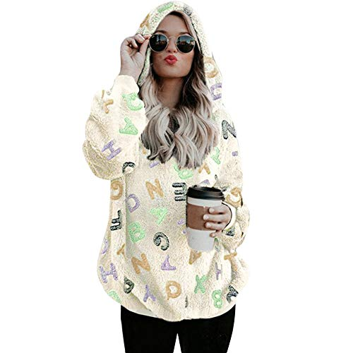 Sudaderas Capucha para Mujer, BBestseller Suéter de Doble Capa de Lana Polar Top Cardigan Tejido Sudaderas para Mujer Blusa Camiseta Tops Otoño e Invierno