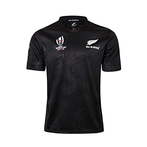 WYNBB 2019 Weltmeisterschaft Rugby Jersey Team New Zealand Maori All Blacks Rugby-Trikot für Männer Kurzarm-Freizeit-T-Shirt-Trainingsanzüge,Black,L/175-180CM