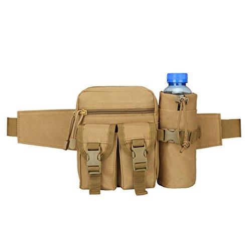 hmilydyk Military Fanny Pack Tactical Multifunktional Aufbewahrung Taille Tasche Pack Wasserdichte Hüft Gürtel Tasche mit Wasser Flasche Tasche Halter für Wandern Klettern Reisen Laufen Angeln Outdoor Khaki