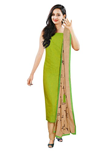 Women's YellowGreen Color Cotton Salwar(UNswitched Dress Materials)