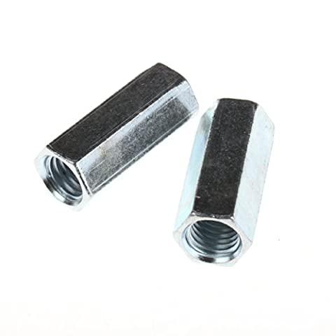 ZFE M14 X 2 Pitch Long Rod Coupling Hex Nut Right Hand Thread Pack of 2Pcs