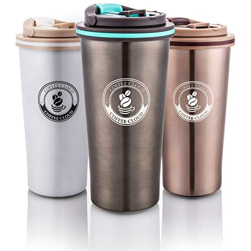 Coffee Cloud Edelstahl Kaffeebecher 500ml | Doppelwandig vakuumisolierter Travel Mug | Thermobecher aus Edelstahl | Isolierbecher BPA Frei, Leicht & Auslaufsicher (Anthrazit) -