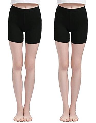 Vinconie Femme Noir Modal-Spandex Court Leggings Mince Élastique Slim Fit Yoga Gym Shorts 2 Pack
