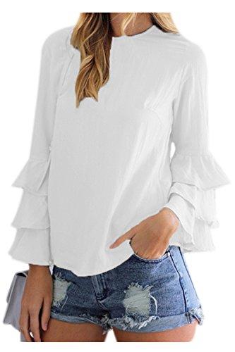 YACUN Donne Sanno Maglietta A Maniche Lunghe Oltre Il Lavoro Occasionale Camicetta White