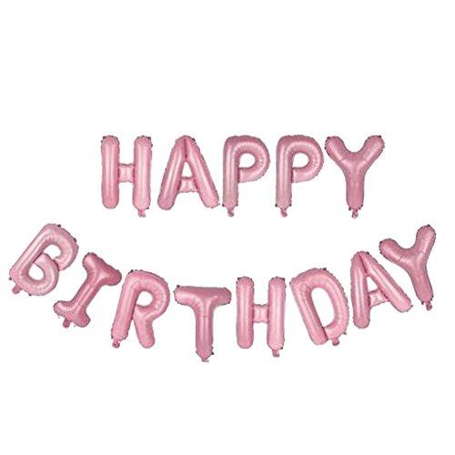 (Cloom Geburtstag Party Dekorationen Kits Happy Birthday Brief Ballons Banner monatliche Geburtstag Party Ballons für Baby Ersten Geburtstag Brief Folienballons Latex Ballons Rosa Weiss Blau (P))