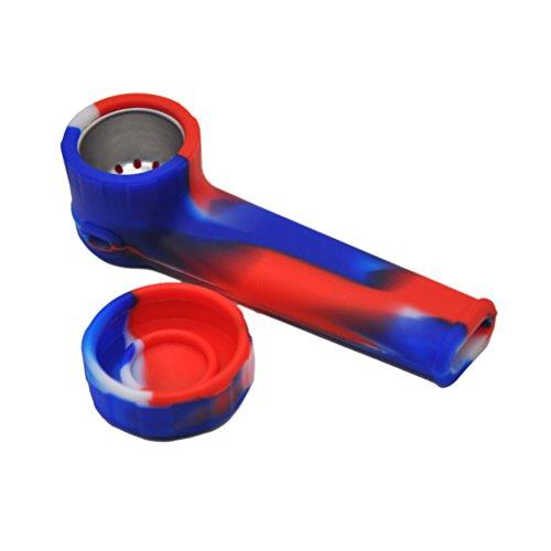 ultnice Silikon Tobacco Pipe tragbar Reise Silikon Wasserpfeife Zubehör Raucher (rot weiß blau)