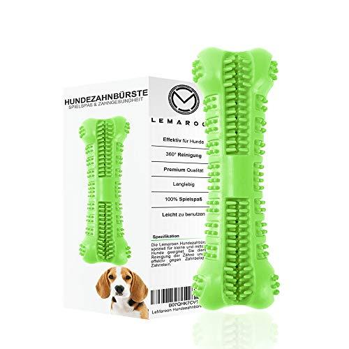 LeMaroon bissfeste Hundezahnbürste | Kau Spielzeug für Ihren Liebling | Top Zahnpflege Hunde | Hundespielzeug | Zahnbürste Hund (Grün) (Zahnbürste Platz)