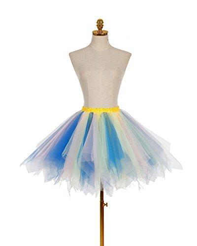 Dresstells Damen Tutu Unterkleid Kurz Ballett Tanzkleid Ballklei Abendkleid Gelegenheit Zubehör Blue-Champagne