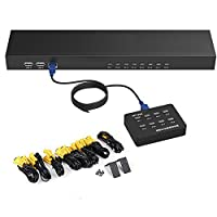Cyfie 8 in 1 out KVM Switch 8 Port Smart KVM Switch Manual Button Press VGA USB Cable Extension Switch Console with Original Remote Control