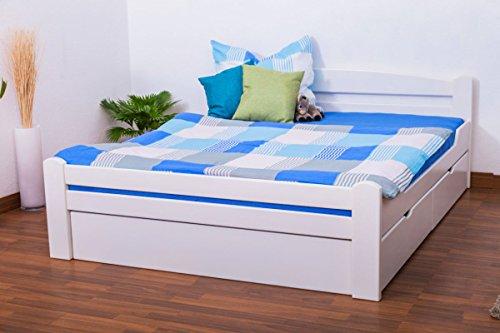 """Doppelbett/Funktionsbett""""Easy Premium Line"""" K4 inkl. 2 Schubladen und 1 Abdeckblende, 160 x 200 cm Buche Vollholz massiv weiß lackiert"""